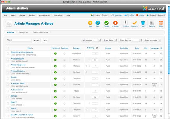 Interfaz de administración backend de Joomla 2.5