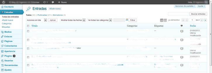 Interfaz de administración de WordPress 3.5