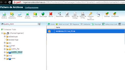 Cargando archivos en el administrador de archivos de CPanel