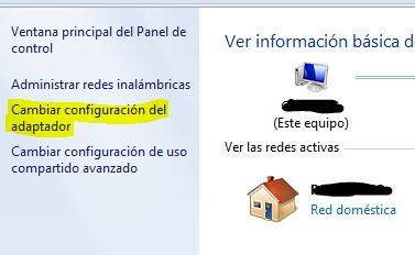 Cambiar la configuración del adaptador en Windows
