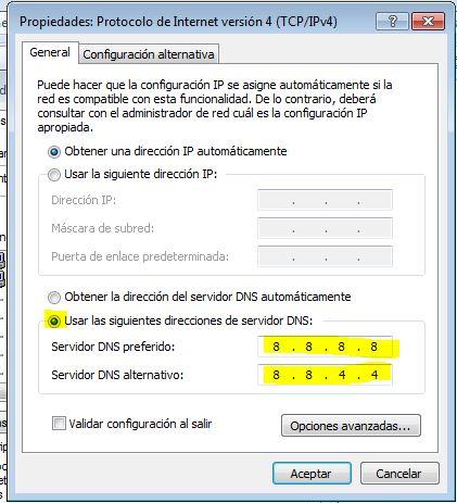 DNS públicos de Google